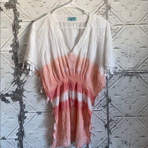 Gorgeous ombré embroidered poncho swim cover up